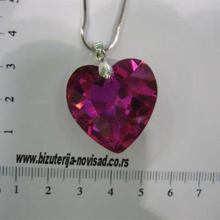 lančić privezak roza srce kristal